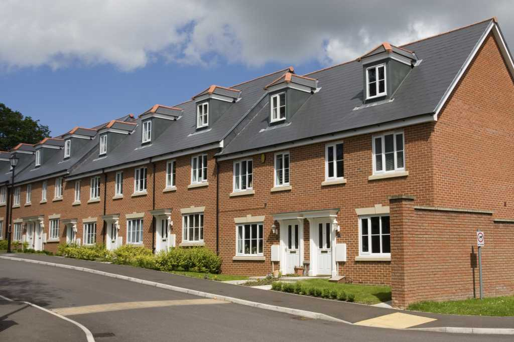 row of new build Terraced houses in England